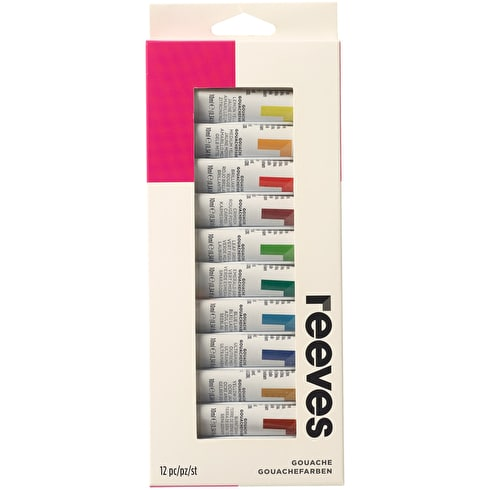 Reeves Gouache 10ml Assorted Colours Set of 12